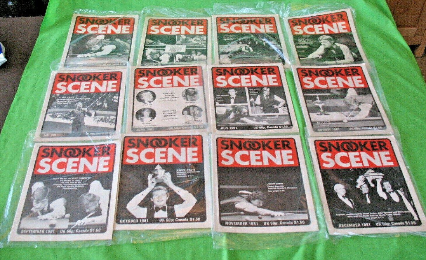 Complete set of 1982 old vintage Monthly SNOOKER SCENE  Magazines incl Billiards