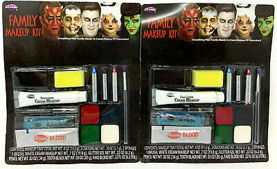 (2) Fun World Family Makeup Kit New & Sealed #9432C Fake Blood Glitter - Family Fun Halloween