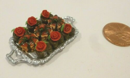 DOLLHOUSE MINIATURE TRAY OF CHOCOLATE HEART DESSERTS W/ROSES ON TOP  & MORE!!