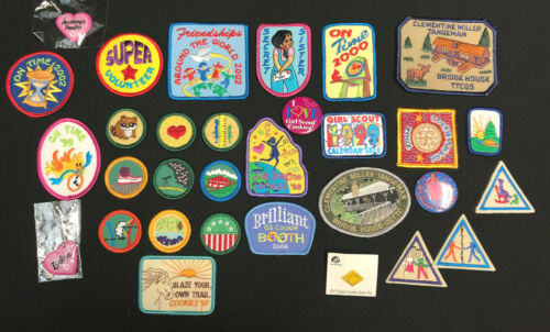 Lot of Vintage Misc Girl Scout Patches and Pins 1990s-2000s, 31 pieces