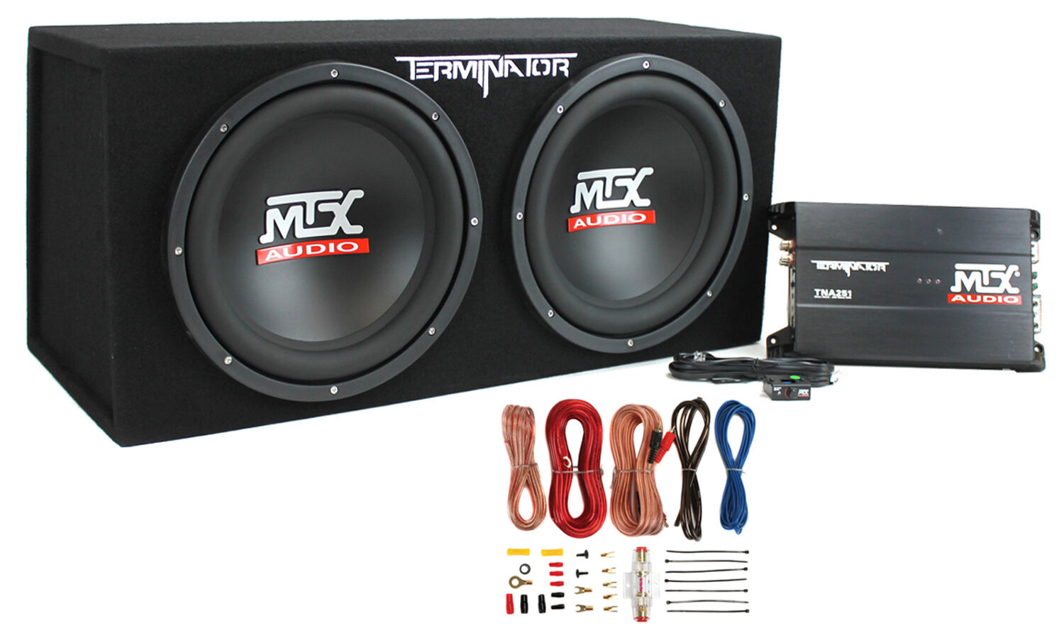 """MTX Dual 12/"""" Subwoofers and Amplifier Package with AKS8 Wiring Kit /& Capacitor"""