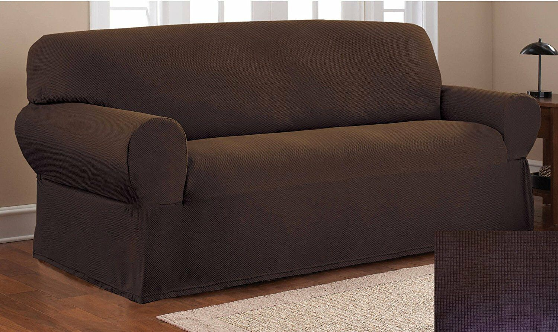 Fancy Linen Sure Fit Stretch Fabric Sofa Slipcover 1 Pc Soli