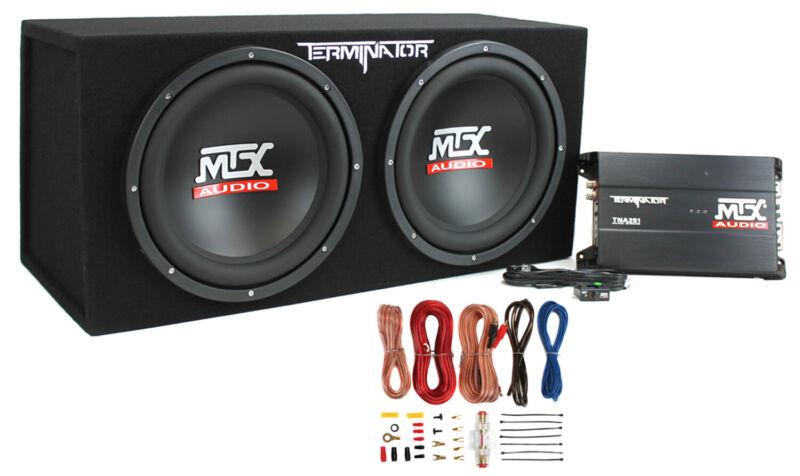 "MTX TNP212D2 12"" 1200W Dual Loaded Car Subwoofer Audio+Sub Box+Amplifier+Amp Kit"