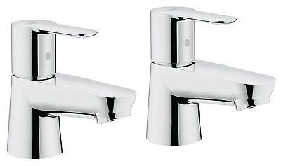 "GROHE BauEdge Chrome Single Lever Pillar Basin Taps Pair  ½""  2042100M (D561) Lever Basin Pillar Taps"