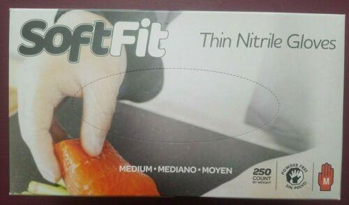 Handgards Soft Fit Thin Nitrile Gloves Medium 250 Count Box Powder Free