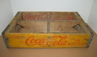 Vintage Coca Cola 24 Bottles 4-6 Pack Dividers Yellow Wood Crate
