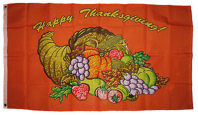3x5 HAPPY THANKSGIVING FLAG CORNUCOPIA HOLIDAY FESTIVE OUTDOOR BANNER HUGE 3'x5' - Happy Thanksgiving Banners