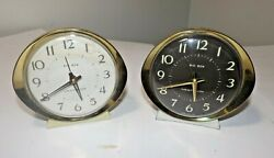 2 Vintage Westclocx BIG BEN Mid Century Modern Table Alarm Clocks RUN GREAT!