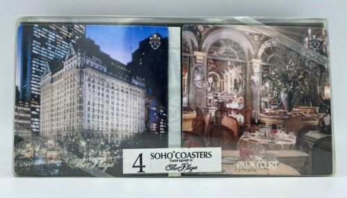 New in Box 5-Star Luxury Set of 4 The Plaza Hotel Soho Drink Beverage Coasters