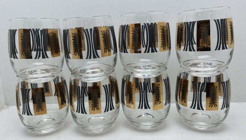 Set Of 8 Low Ball Mid Century Modern MCM Black Gold Glasses!