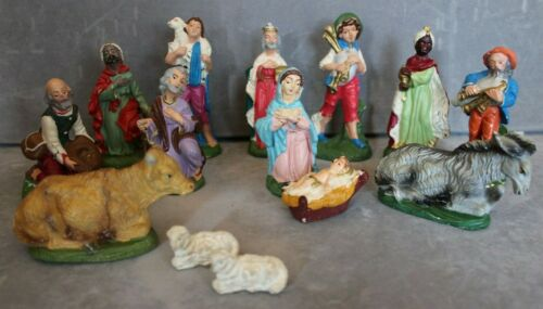 Vintage Chalkware Nativity Figures Set Made in Italy - 14 Hand Painted Pieces
