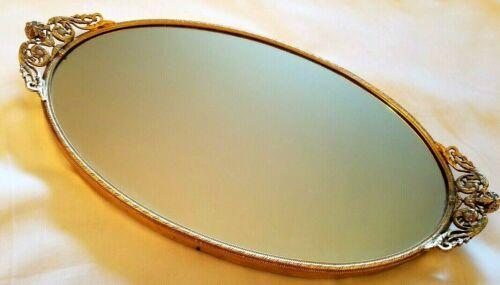 Vintage Gold Filigree Dresser Vanity Mirror Tray Stylebuilt 1950s Hollywood Era