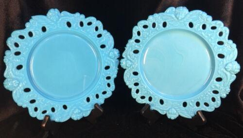 Antique Dithridge Cherub Plates Turquoise Blue Milk Glass Set of 2