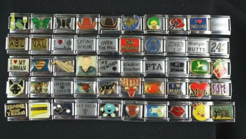 Italian Charms 50 assorted Stainless Steel Wholesale Lot 9mm  (C50-34)