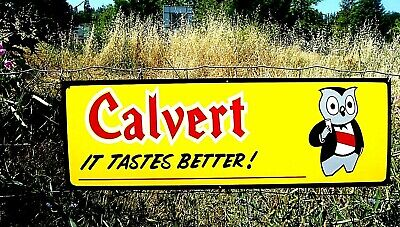 "36"" Vintage Hand Painted Old Style Calvert Whiskey Owl Sign Bar Liquor Gas Oil"