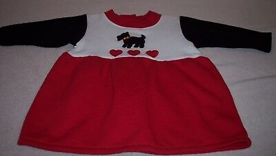 """Girls """"HONORS BABY"""" long sleeve fleece lined puppy dog dress size 6 mon NEW"""