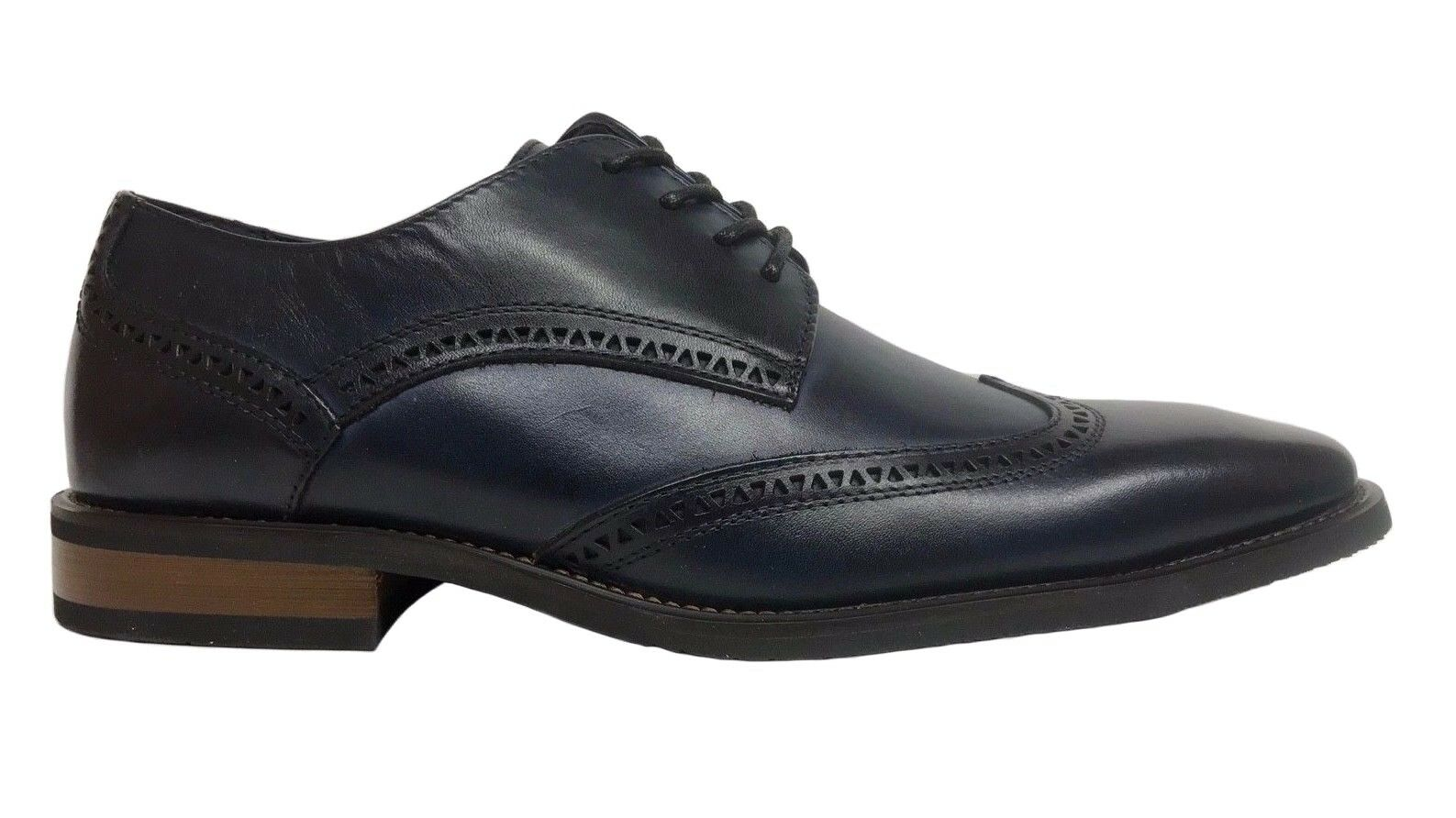 La Milano Men's Oxford Wing Tip Navy Leather Dress Shoes A11577 1