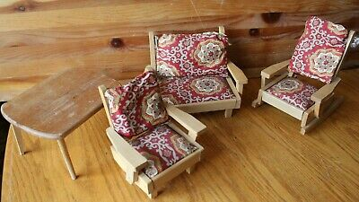 Wooden Doll furniture Couch rocking chair red print cushion table vintage Japan for sale  Shipping to India