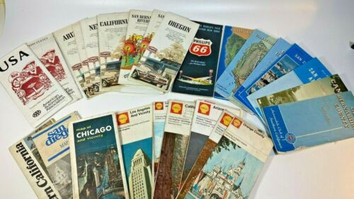 Vintage Road Maps USA Lot of 28 AAA, Shell, Texaco, Phillips 66 Mostly 1970s