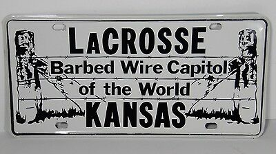 VTG 1970s LACROSSE KANSAS BARBED WIRE COLLECTOR LICENSE PLATE ADVERTISING SIGN