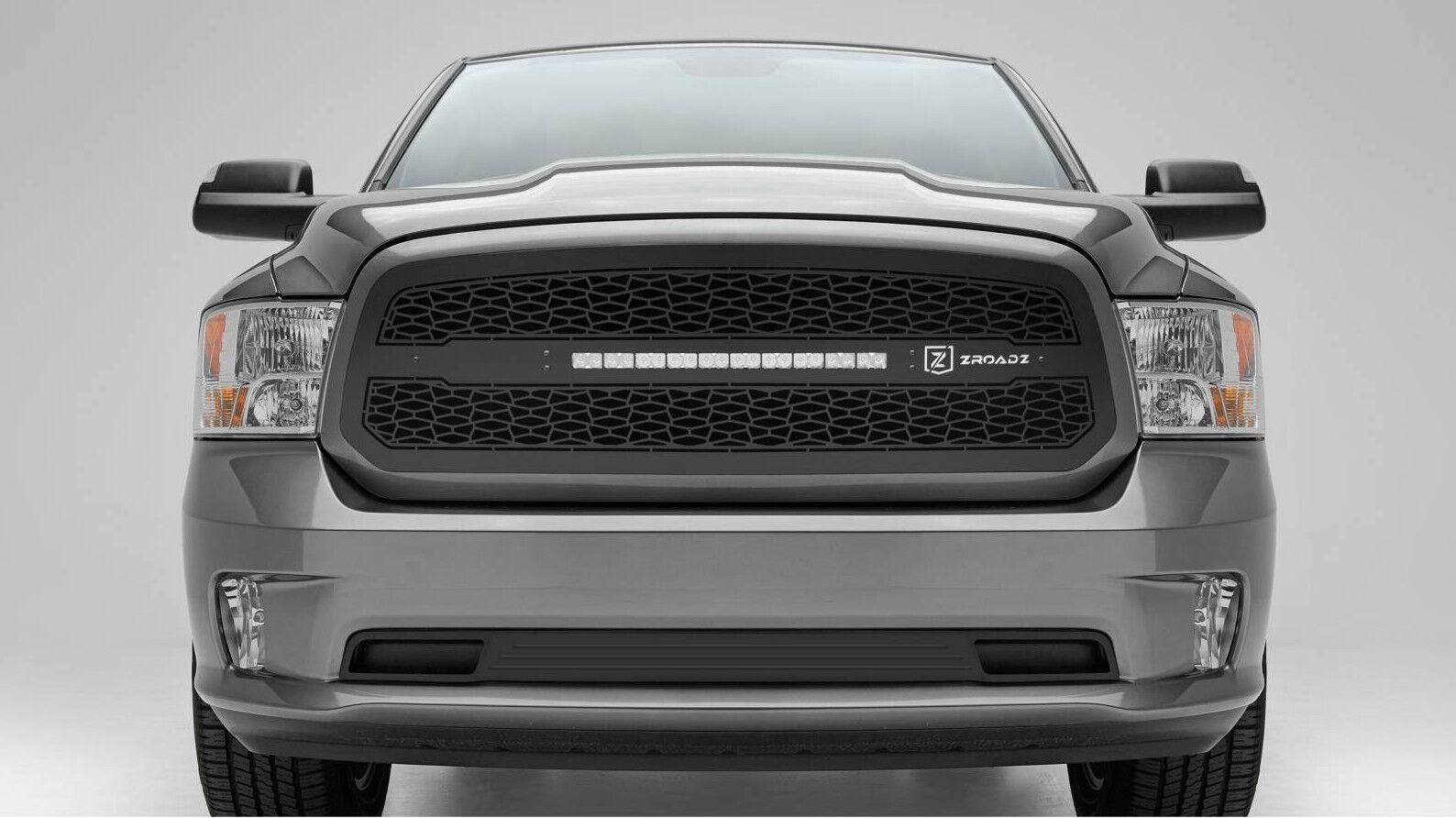 2013 2016 dodge ram 1500 zroadz series black grille grill w led light bar t rex ebay. Black Bedroom Furniture Sets. Home Design Ideas