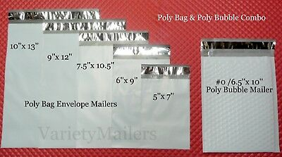 90 Poly Bag Poly Bubble 15 Each 10x13 9x12 7.5x10.5 6x9 5x7 0 6.5x10