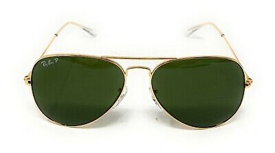 RAY BAN RB3025 58/14 AVIATOR Sunglasses POLARIZED CLASSIC G-15 Lens, GOLD Frame