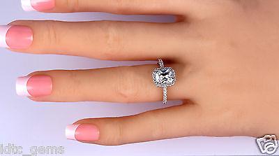 2.25 CT Emerald CUT ENHANCED D/SI1 HALO DIAMOND ENGAGEMENT RING 14K WHITE GOLD