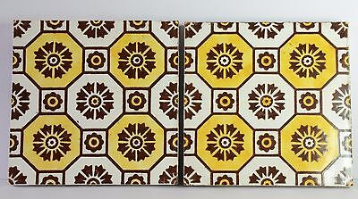 Pair of Vintage Ceramic Tiles By Craven Dunnill - Jackfield.
