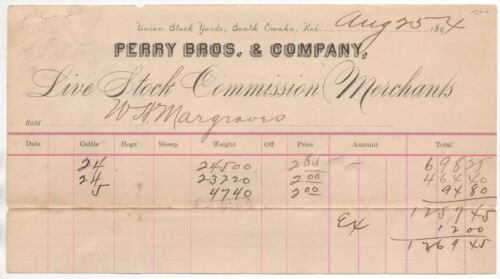 1894 Billhead from Perry Bros Livestock Commission Merchants Omaha Nebraska