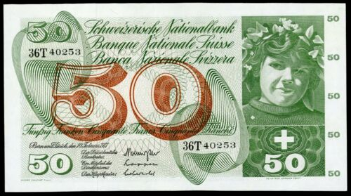 🔸SWITZERLAND 50 FRANCS 1971 P-48 aUNC (O-008)🔸
