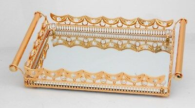 Gold handle & metal serving tray with mirror / Home decorati
