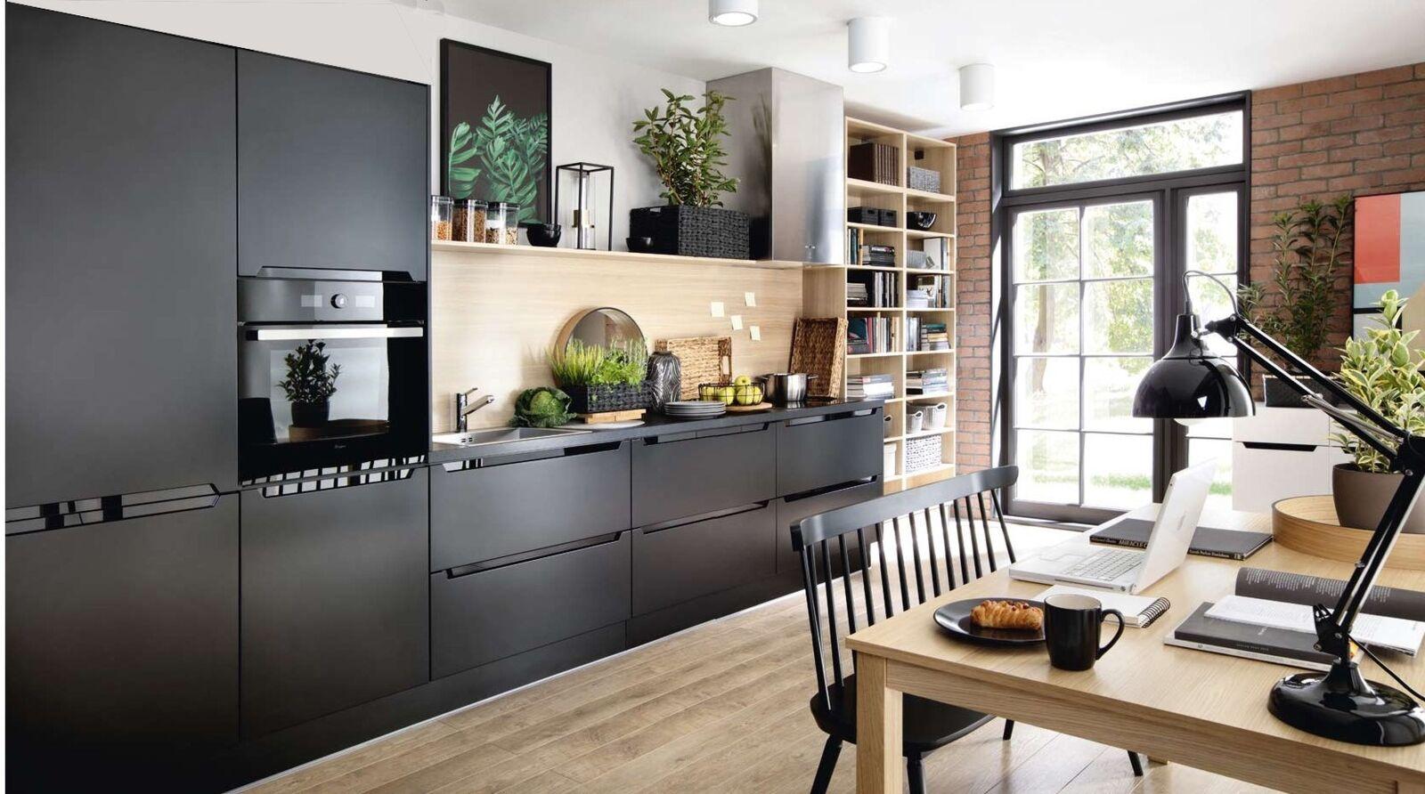 Küchenzeile, Einbauküche schwarz matt Fronten - erweiterbar  Blum Technik