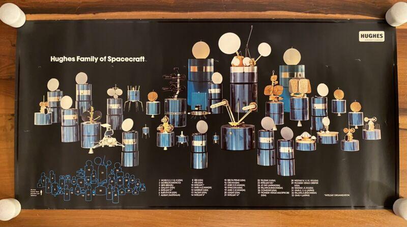 Vintage 1985 Hughes Intelsat Satellite Spacecraft Scarce Promo Color Poster e9
