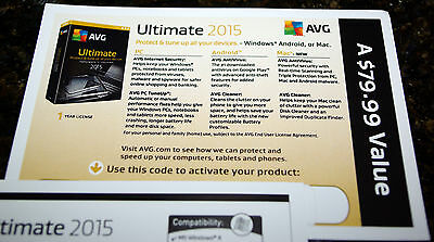 New  Avg Ultimate 2015 Unlimited Devices   1 Year   Free Upgrade To 2018