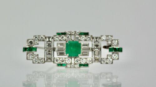 Deco Platinum Emerald Diamond Brooch