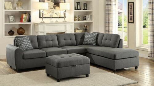 Modern Casual 5-seater Fabric Sectional Sofa Set Reversible Chaise Lounge, Gray