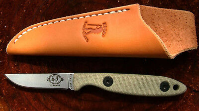 ESEE CR2.5 CODY LOWEN CAMP LORE FIXED BLADE KNIFE BIRD & TROUT w/ LEATHER SHEATH