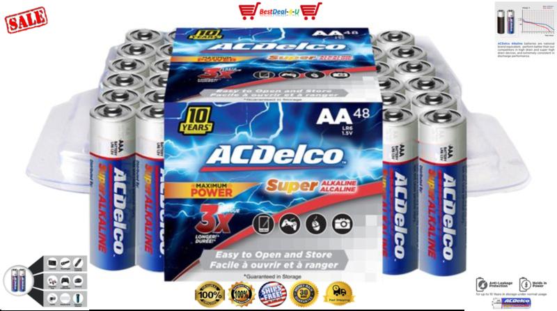 ACDelco Maximum Power Super Alkaline AA Batteries, 48-Count