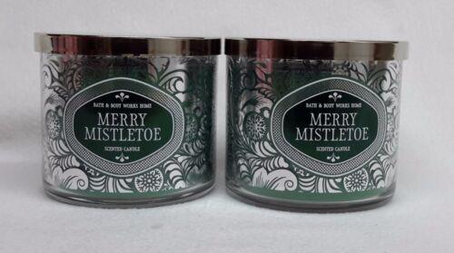 2 Bath & Body Works MERRY MISTLETOE 3-Wick Scented 14.5 oz Candle