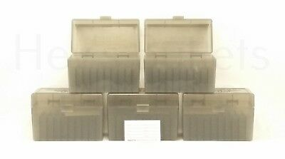 BERRY'S PLASTIC AMMO BOXES (5) SMOKE 50 Round 270 / 30-06 / More- FREE SHIPPING - Berry Boxes