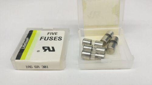 LITTELFUSE 301006   6 AMP  AUTOMOTIVE GLASS FUSES - 5 pcs