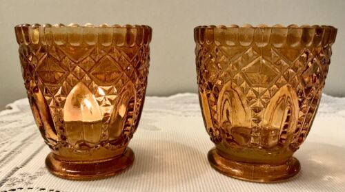 Set of 2 Vintage Yellow Amber Glass Votive Footed Candle Holders, Pressed Glass