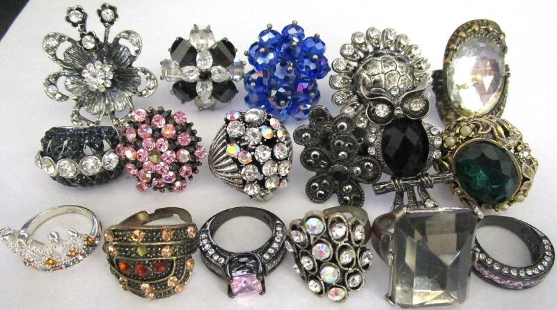 Gorgeous Lot of VIntage Rhinestone Costume Rings