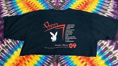 Women's Retro 2009 Playboy Cruise Black Crop Top Shirt XL Double Sided Cruise Top Shirt