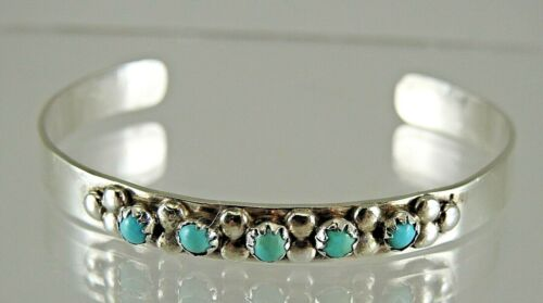 Estate Native American Sterling Silver Turquoise Cuff Bracelet