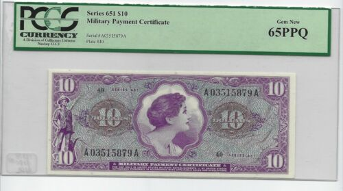 MPC Series # 651 $10 Gem Uncirculated PCGS 65 PPQ MILITARY PAYMENT SUPER NICE