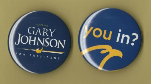 """2016 Gary Johnson(Pair) 2.25"""" /OFFICIAL-Libertarian Party Campaign Buttons(xmas)"""
