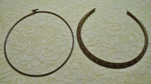VINTAGE COPPER & BRASS TONE NECK WIRE CHOKER COLLAR NECKLACE LOT