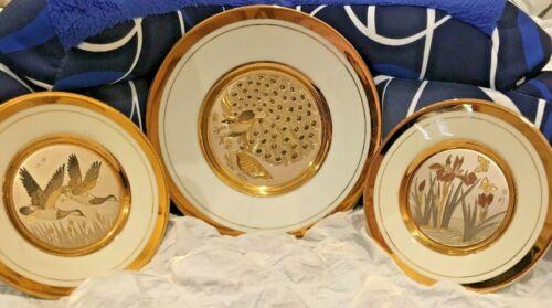 3 Vintage The Art of Chokin Plates~24k gold edge~ Peacocks-Butterflies-Ducks
